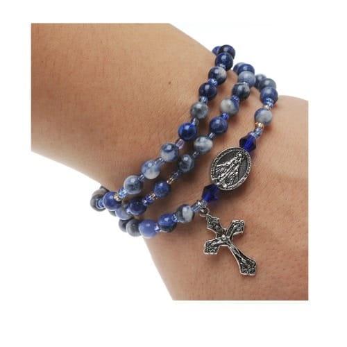 Blue Lapis Rosary Wrap Bracelet