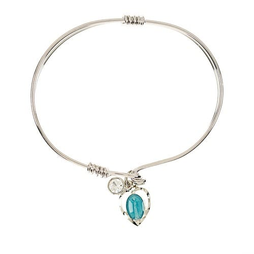 Blue Miraculous Medal Heart Bangle