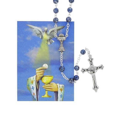 Blue Speckled First Communion Rosary