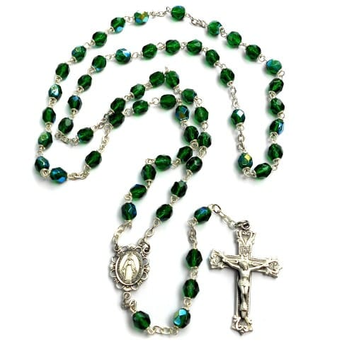 Bohemian Glass Birthstone Rosary – Emerald / May