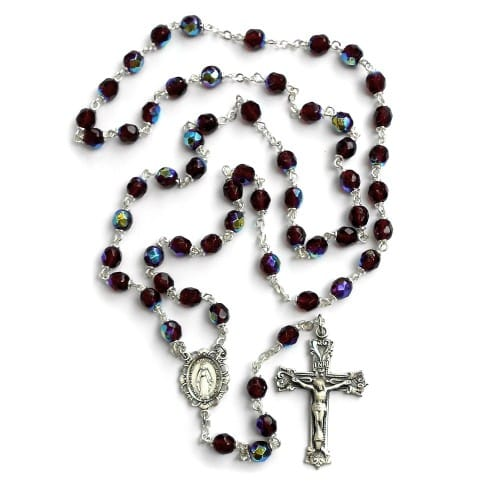 Bohemian Glass Birthstone Rosary – Garnet / January