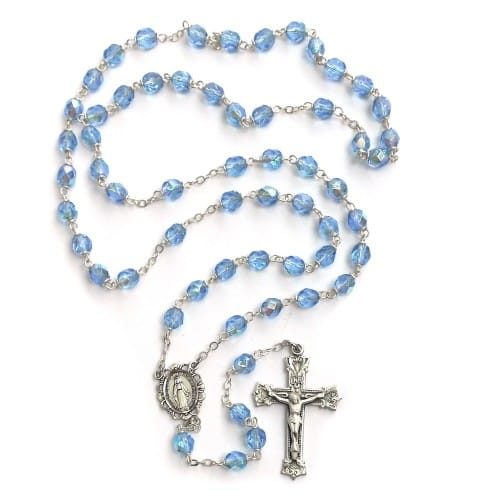 Bohemian Glass Birthstone Rosary – Zircon / December
