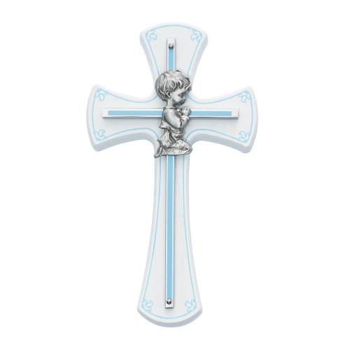 Boy Cross on White Wood - 7 inch