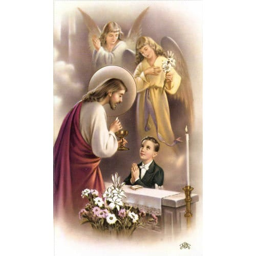 Boy First Communion Traditional Personalized Prayer Cards