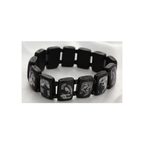 Brazilian Wood Saints Bracelet XL fit, Black & White Images