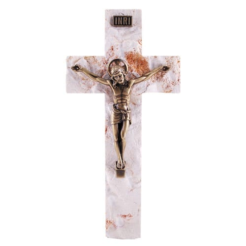 Bronze Wall Crucifix Chiseled Jerusalem Stone - 7.5 inch