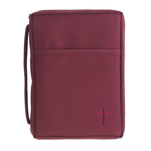 Burgundy Canvas Bible Cover with Cross