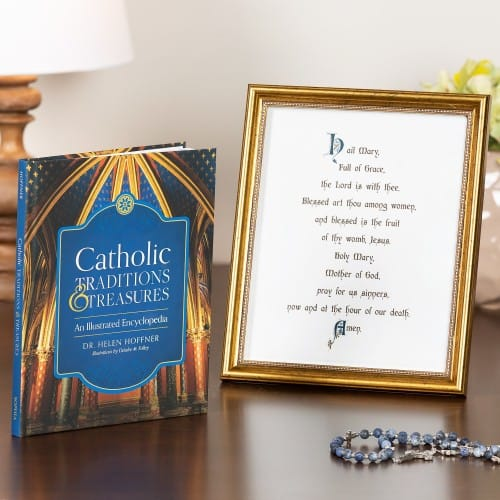 Catholic Traditions & Treasures and Calligraphy Hail Mary Print Set