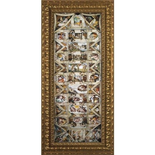 The Ceiling of the Sistine Chapel w/ Ornate Gold Frame