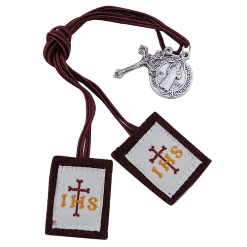 Children's Scapular with Brown Strings