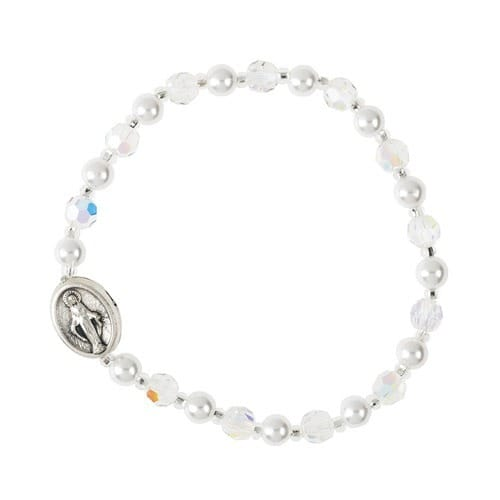 Child's Miraculous Medal Crystal Bracelet