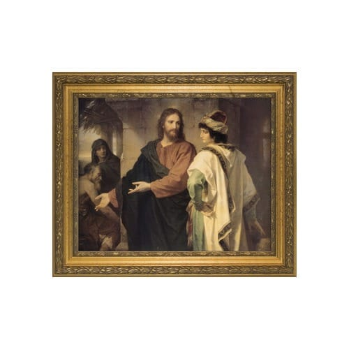 Christ and the Rich Young Ruler w/ Gold Frame