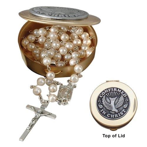 Confirmation Rosary Box Set - Pearl Rosary