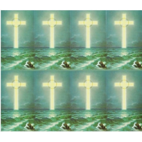 Cross on the Ocean Personalized Prayer Card (Priced Per Card)