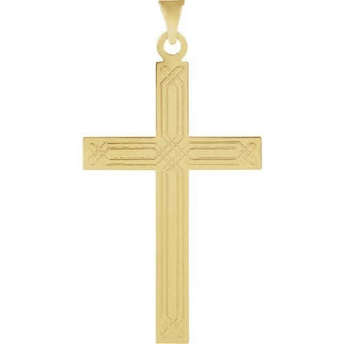 Cross Pendant with Ichthus Design -14K Gold