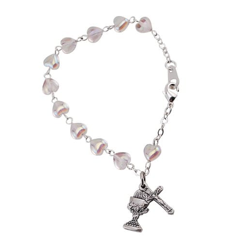 Crystal Heart Communion Bracelet