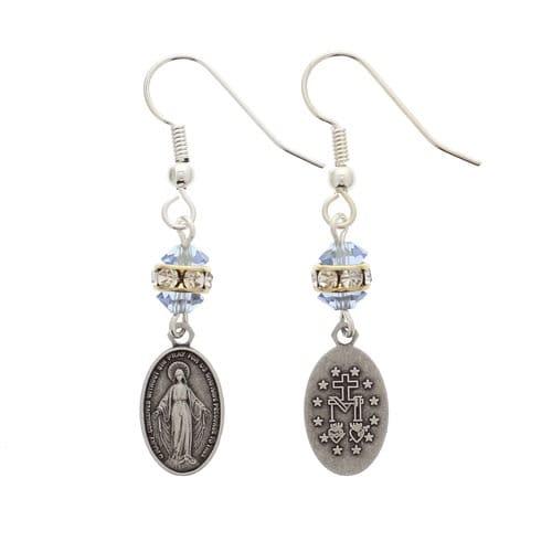 Crystal Miraculous Medal Earrings