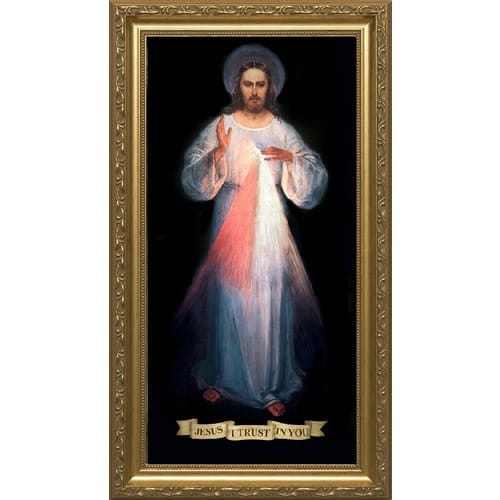 Divine Mercy with Gold Frame [8 x 16]