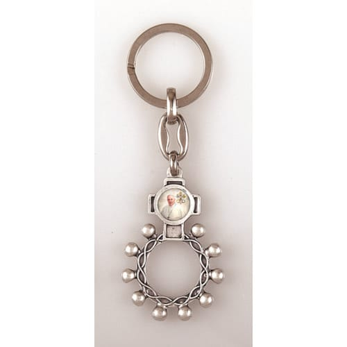 Double-sided Pope Francis / St. Francis Finger Rosary Key Chain