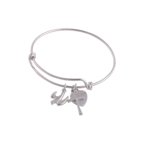 Dove Bangle Bracelet with Engravable Heart