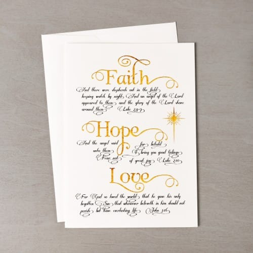 faith hope and love gold black christmas cards set of 20
