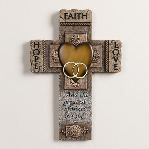 Faith, Hope and Love Marriage Cross 10.5 inch