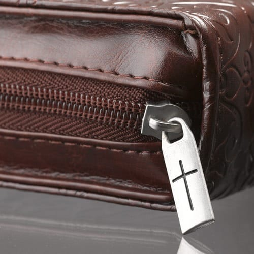 Lux Leather Amazing Grace Bible Cover, Large