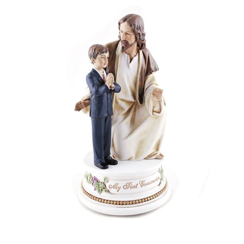First Communion Jesus with Boyy Musical Figure