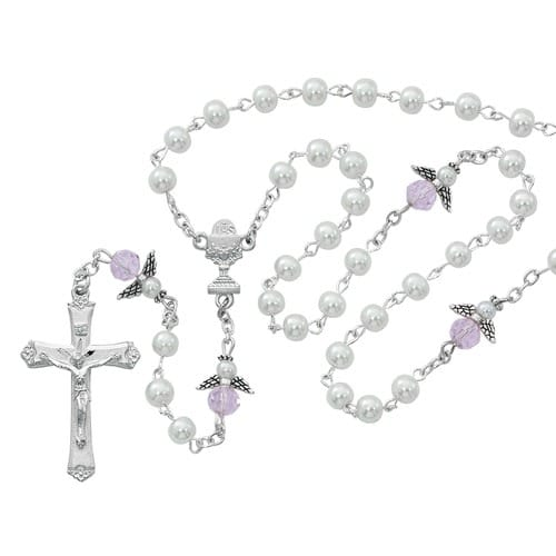 First Communion Angel Pearl Rosary