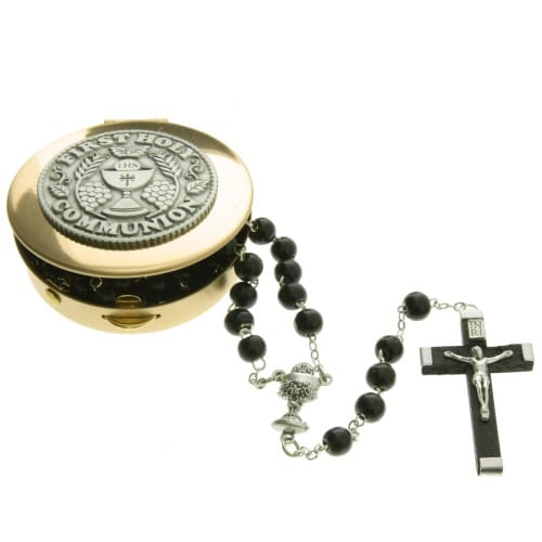 First Communion Black Rosary and Keepsake Box