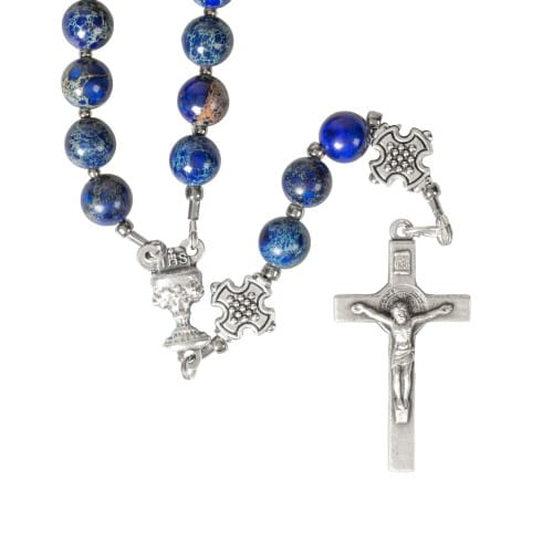 First Communion Blue Rosary
