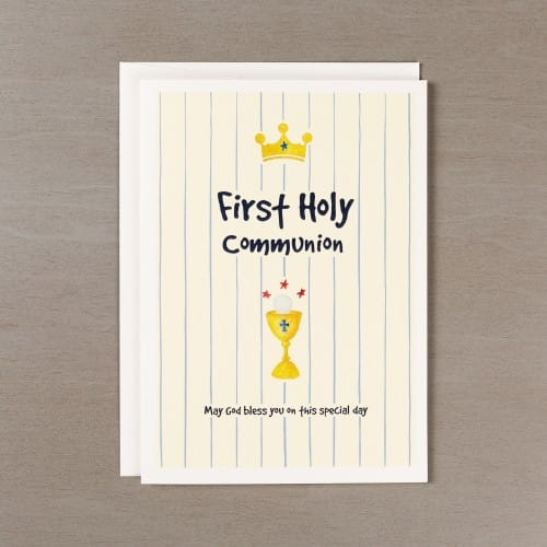 First Communion Boy's Watercolor Card w/ Envelope