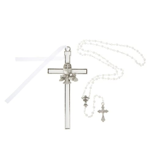 First Communion Cross & Pearl Rosary Set