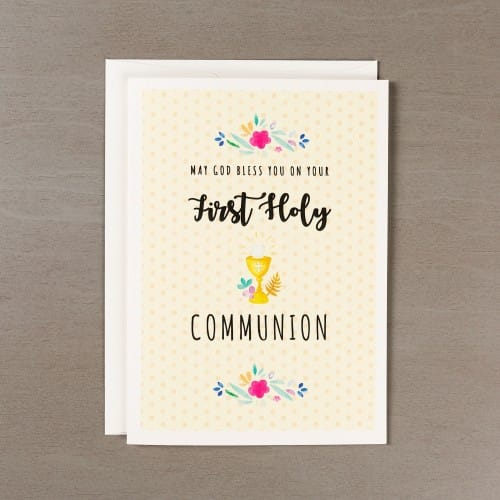 First Communion Girl's Watercolor Card w/ Envelope