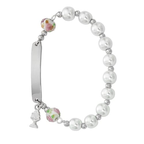 First Communion Plaque Pearl Rosary Bracelet