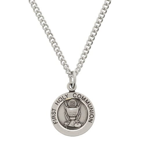 First Communion Sterling Silver Small Round Medal