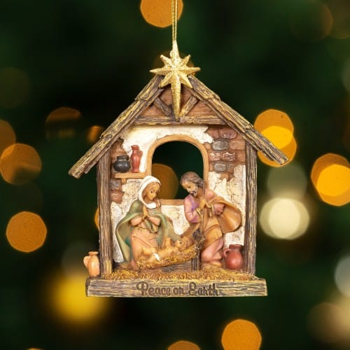 Christmas Religious Nativity Stars Ornament: Fontanini Holy Family Stable Ornament