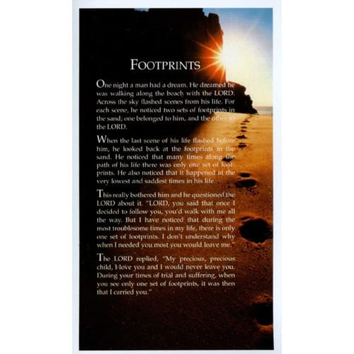 Footprints Personalized Prayer Card (Priced Per Card)