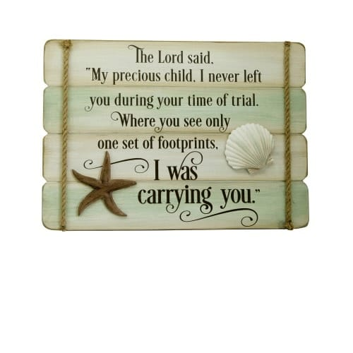 photo regarding Footprints in the Sand Printable called Footprints In just The Sand Wall Plaque