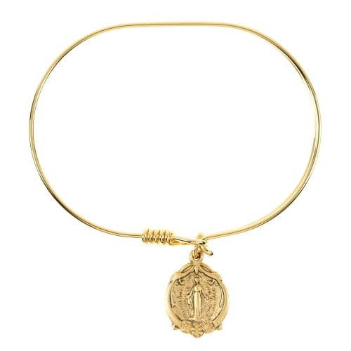 14K Gold Plated Miraculous Medal Bangle