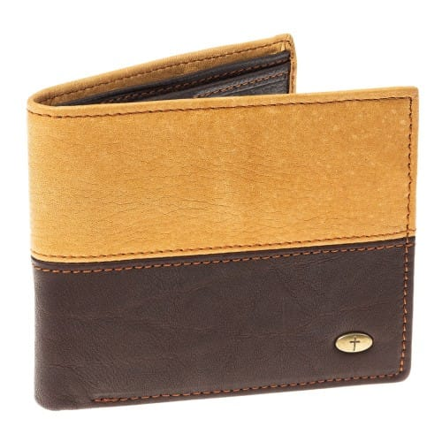 Genuine Leather Wallet with Small Cross Emblem