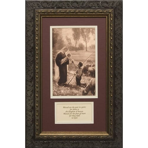 Gift of the Good Shepherd (Matted with Prayer in Dark Ornate Frame) 8x14