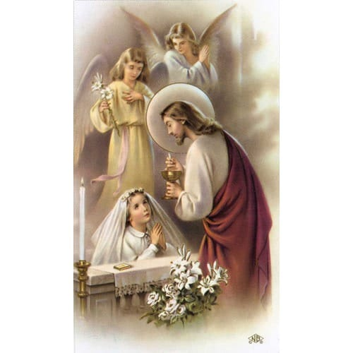 Girl First Communion Traditional Personalized Prayer Cards ...