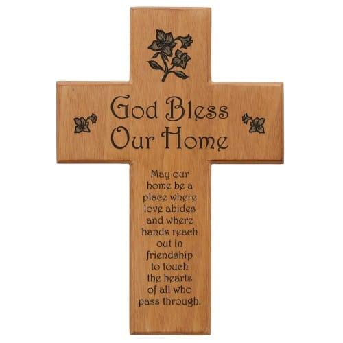 God Bless Our Home Mahogany Wall Cross The Catholic Company