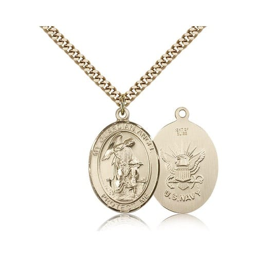 14kt Gold Filled Guardian Angel / U.S. Navy Insignia  Pendant w/ chain