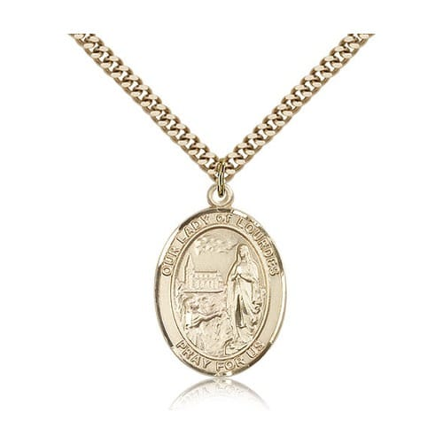 14kt Gold Filled Our Lady of Lourdes Pendant w/ chain