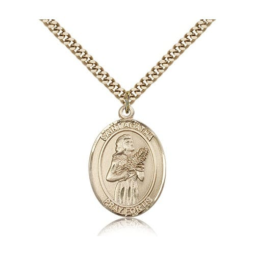 14kt Gold Filled St. Agatha Pendant w/ chain