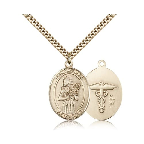 Gold Filled St. Agatha Nurse Pendant w/ chain