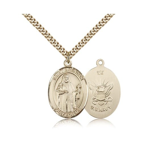 14kt Gold Filled St. Brendan the Navigator/ Navy Pendant w/ chain