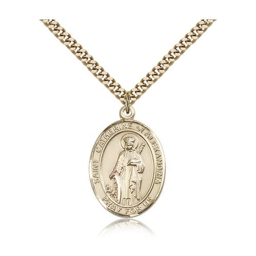 14kt Gold Filled St. Catherine of Alexandria Pendant w/ chain